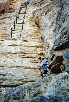 """The Havasupai Falls """"elevator."""" in Arizona  This is the only way to get up and down the falls."""
