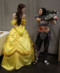 Belle, from the American animated movie Beauty and the Beast, with a raider from the video game Fallout 3
