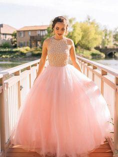 pretty prom dresses, A-line Scoop Floor-length Tulle Prom Dress Evening Dress MK249