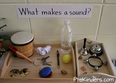 ideas could be extended for elementary children to talk about sound waves and how they work (add in tuning forks, etc.)Sound ideas could be extended for elementary children to talk about sound waves and how they work (add in tuning forks, etc. 5 Senses Activities, Preschool Science Activities, Kindergarten Science, Teaching Science, Science For Kids, Science Centers, Science Ideas, Leadership Activities, Music Activities For Preschoolers