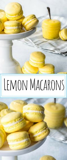 These are the perfect balance between sweet and tangy lemon Macarons in two perfect delicate bites! They are filled with lemon curd and buttercream. Oreo Dessert, Brownie Desserts, Mini Desserts, French Desserts, Just Desserts, Plated Desserts, Macaroon Filling, Macaroon Cookies, Lemon Cookies