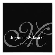 Black and gold monogram wedding invitation weddings black grey white monogram names wedding invitation stopboris Choice Image