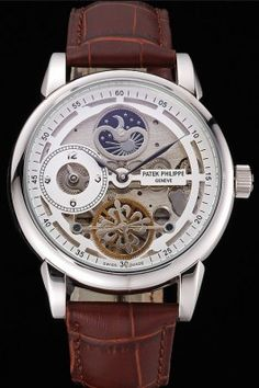 Patek Philippe Dual Time Moonphase Tourbillon White Skeletonised Dial Stainless Steel Case Brown Leather Strap (Imitation)