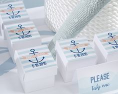 square favor boxes kateu0027s nautical baby shower collection set of
