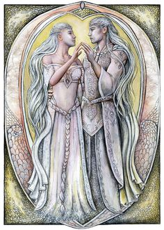 """Celeborn, grandson of Elmo, (brother of Elwe and Olwe) dwelt in the Sindar realm of Doriath with his kinsman, Thingol. There he met the Noldorin princess Galadriel and 'there was great love between them.' In the Second Age they moved East to Eregion, before settling in Lothlorien.  """"In Love"""" by jankolas on DeviantArt"""