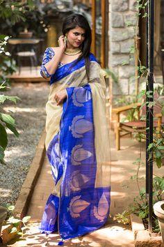 Banaras pure silk tissue saree with royal blue border #houseofblousedotcom #saree #blouse #india #banaras