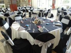 Table Setup with a Black Overlay at St. Charles