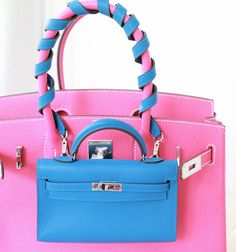 Hermes pink Birkin bag and mini Kelly in blue.