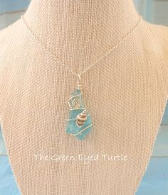 Wire Wrapped Teal Sea Glass Necklace with by TheGreenEyedTurtle