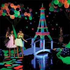 If you want a less romantic theme and more party theme consider a Paris glow theme. Hand out glow sticks or sunglasses as favors.