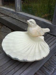 Shabby Chic Cream Home Decor Cast Iron Soap Dish  Bird  by AlacartCreations