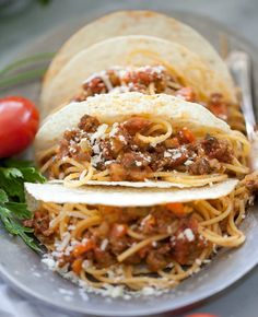 Make these Spaghetti Tacos for dinner.