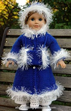 Ravelry: American Girl Doll Retro Winter Outfit (Coat, Hat and Muff) pattern by Elaine Phillips Knitting Dolls Clothes, Ag Doll Clothes, Crochet Doll Clothes, Doll Clothes Patterns, Crochet Toys, Knitted Doll Patterns, Knitted Dolls, Knitting Patterns, American Girl Crochet
