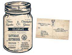 Mason Jar Wedding Invitation and RSVP/Rustic by SocialStationery