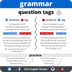 "hellolearnenglishwithantriparto: "" Question tags in English Source: C.EnglishTeacher """