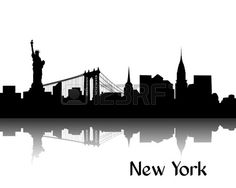 Schwarze Silhouette von New York die Hauptstadt der USA Stockfoto