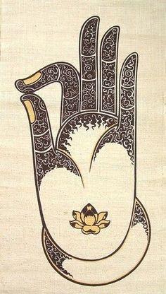 Hemp Wall Hanging Batik Buddha Vitarka Mudra (Gyan) Hand gesture, sil ...