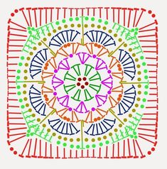 Ideas for crochet granny square pattern hexagon african flowers Crochet Squares, Point Granny Au Crochet, Crochet Motifs, Granny Square Crochet Pattern, Crochet Diagram, Crochet Chart, Crochet African Flowers, Crochet Flower Patterns, Crochet Stitches Patterns