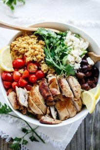 Although I will replace the chicken with tofu or so this sounds good (minus the kalamata olives) Balsamic Chicken Salad with Lemon Quinoa