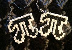 Items similar to Pi Symbol Pixel Art Geeky Earrings Hypoallergenic on Etsy Fuse Beads, Perler Beads, Handmade Shop, Etsy Handmade, Bracelet Patterns, Beading Patterns, Geek Perler, Pi Symbol, Perler Patterns