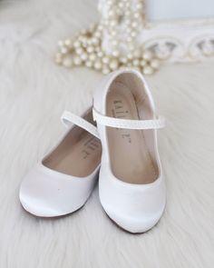 bce769257295 Girls Shoes White Satin Maryjane Flats