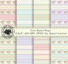Cute Digital Paper Flower Digital Paper Stripe Digital