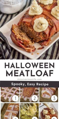 Bacon wrapped meatloaf combines two great proteins in one delicious bite. The addition of mashed potato ghosts makes for a very festive meal! A delicious take on the classic meatloaf dish. This bacon wrapped meatloaf is moist, easy to make and so much better than regular meatloaf! Plus, it's ready in under 1 hour for the perfect main dish for your Halloween party or just a fun, spooky, weeknight dinner the kids are sure to love. #BaconWrappedMeatLoaf #HalloweenThemedDinner #ThisVivaciousLife Gluten Free Recipes For Breakfast, Allergy Free Recipes, Gluten Free Dinner, Easy Meals, Easy Dinner Recipes, Fall Recipes, Halloween Baking, Spooky Halloween, Happy Halloween