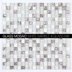 Arabescato Polished Marble / Glass Blend Square 5/8x5/8 Mosaic / MAG-4431-SQ  http://allmarbletiles.com/mosaic-tiles/glass-mosaics/all-marble-mosaic-glass-and-stone-mix-5-8-x-5-8-glass-mosaic-tile-mag-4429-sq-clone.html