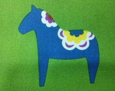 Swedish Dala horse, bright green, fat quarter, pure cotton fabric