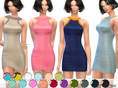High neckline sleeveless knit dress featuring striped detail. 20 different colors. Custom mesh by me.  Found in TSR Category 'Sims 4 Female Everyday'