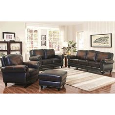 Venezia 4 Piece Top Grain Leather Living Room Set