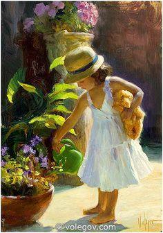 Vladimir Volegov 69. Watering Flowers (2012) *SOLD* http://www.volegov.com/watering-flowers-painting/