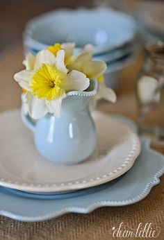 A Little Creamer like this one from @Homegoods filled with Daffodils makes a fun and inexpensive place setting for an Easter Brunch or Dinner. (sponsored pin)