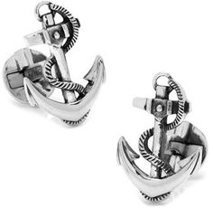 Ox and Bull Trading Co. Sterling Boat Anchor Cufflinks.