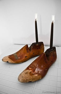 old shoe forms become wonderful candle holders