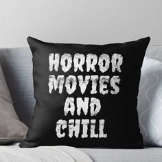 'Horror Movies And Chill' Throw Pillow by Luna-May Goth Home Decor, Halloween Home Decor, Halloween House, Diy Home Decor, Halloween Bedroom, Gypsy Decor, Creepy Home Decor, Movie Bedroom, Goth Bedroom