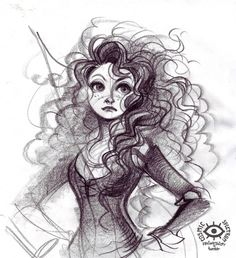 Charcoal drawing of our FAVORITE Scot, and my personal friend, MERIDA!! :D