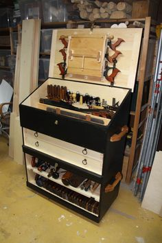 Large Dutch style tool chest, in two sections, full of tools, made by Phil White