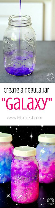 Create a DIY Nebula or Galaxy jar , simple ingrediants for calming jar fun - http://www.momdot.com/diy-nebula-jar-instructions/