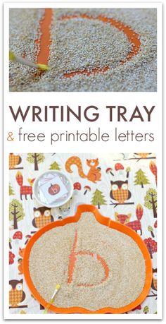 Fall themed writing activity. Sensory writing tray for preschool and kindergarten.