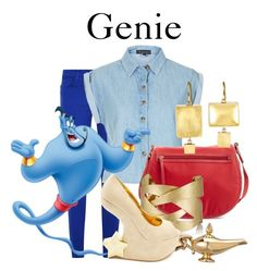 """""""Genie"""" by disneyandsuch ❤ liked on Polyvore featuring J Brand, Topshop, Tory Burch, N.Y.L.A., Judy Geib, Disney, Charlotte Russe, disney, aladdin and WhereIsMySuperSuit"""