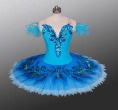 This highly professional stage costume is perfect for the role of Princess Florina in the Blue bird variation and Pas de Deux. It can also be used for many other classical variation. The tight paneled