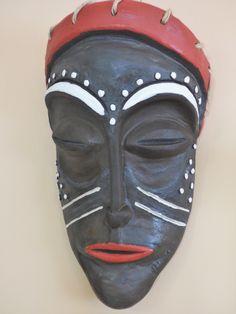 Ceramic African masc Angob painted .
