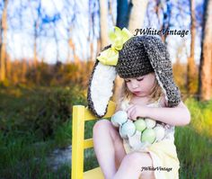 Crochet Bunny hat 8 colors to choose without by JWhiteCrochet