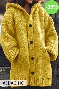 2019 New Winter Fashion Women Coat Knit Hooded Sweater Mid-length Button Up Knitted Cardigan Jacket Cardigan Plus Size, Chunky Cardigan, Loose Sweater, Sweater Coats, Sweater Hoodie, Sweater Cardigan, Hooded Cardigan, Warm Sweaters, Hooded Jacket