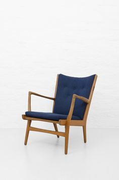 Hans Wegner easy chair AP-16 in blue fabric at Studio Schalling