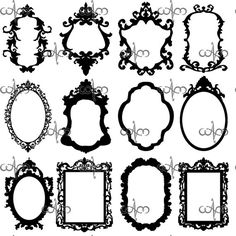 Baroque Frames Clip Art Graphic Design Pattern for your art projects via Etsy