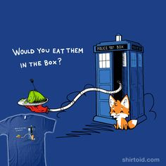 """""""Green Eggs and Who"""" by fablefire.  Would you eat them in the box?  A mashup of Green Eggs and Ham and Doctor Who."""