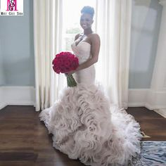 b816566eeea Sweetheart White Ivory Ruffles Organza Mermaid Wedding Dress Bridal Gown  Custom