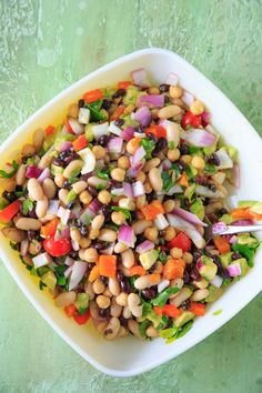 Three Bean Salad with avocado, vegetables and herbs. A flavorful vegan and gluten-free side dish perfect for a picnic or potluck, and filling enough for a main dish! Gluten Free Potluck, Healthy Potluck, Healthy Dinner Recipes, Beef Recipes, Salad Recipes, Cooking Recipes, Best Potluck Dishes, Healthy Christmas Recipes